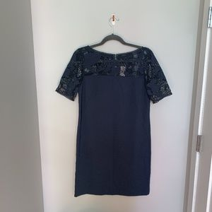 Ann Taylor navy dress with lace detail